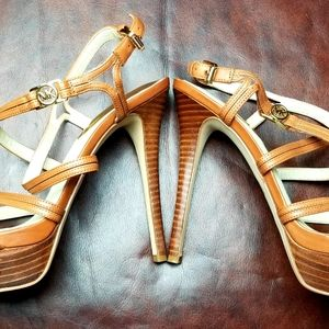 Michael Kors Brown Leather Strap Sandals Size 8 Be